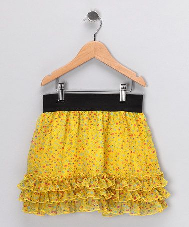 Take a look at this Yellow Ditsy Chiffon Skirt - Girls by Dollhouse on #zulily today!