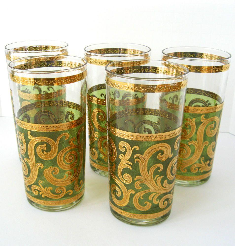 5 Vintage Culver Barware Highball Glasses Tumbler Angry Men 22K Mid Century  Gold