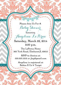Damask Coral and Teal Baby Shower Invitation cute for a girl but