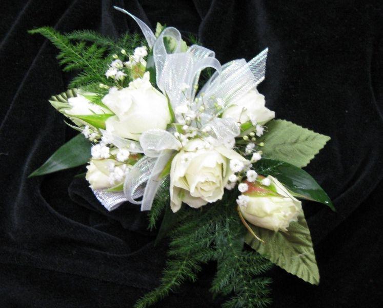 Silk Wedding Flowers In Maryland : Corsages white spray rose wrist corsage