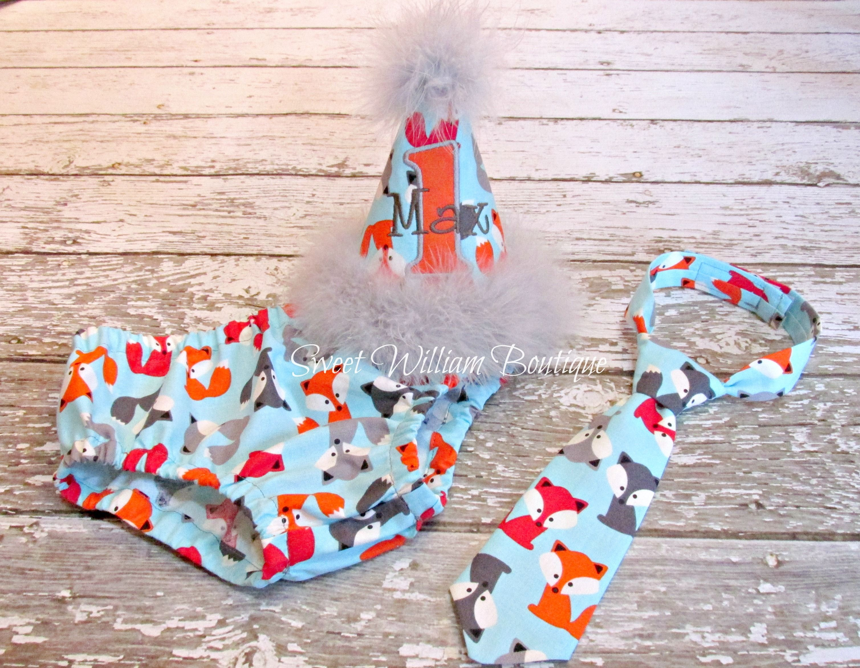 Woodland Fox First Birthday Cake Smash Outfit Hat Diaper Cover Neck Tie For Baby Boy Sweet William Boutique