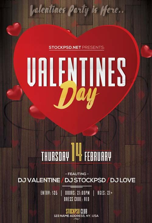 Valentines Day Event 2017 Party Free Flyer Template Hhjhjhj