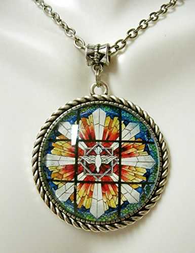 Holy Spirit stained glass window pendant with chain - AP25-081 ** Click image to review more details. (Amazon affiliate link)