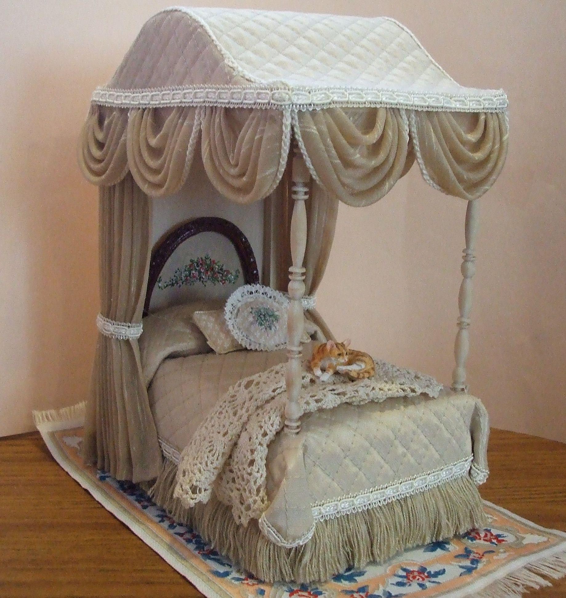 Miniature Furniture Beige Canopy Bed 179 00 Margie S Petite