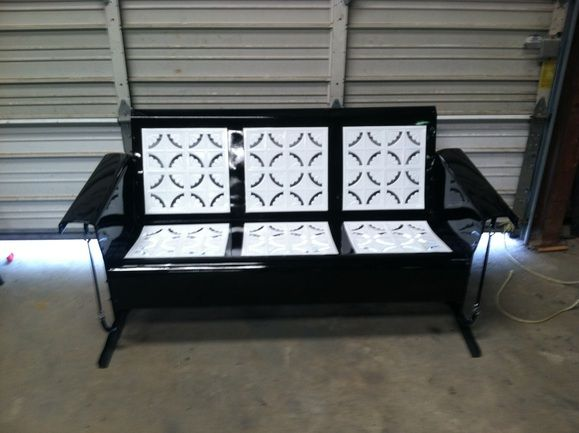 Stupendous Antique Metal Glider Piecrust Black And White Powdercoated Bralicious Painted Fabric Chair Ideas Braliciousco