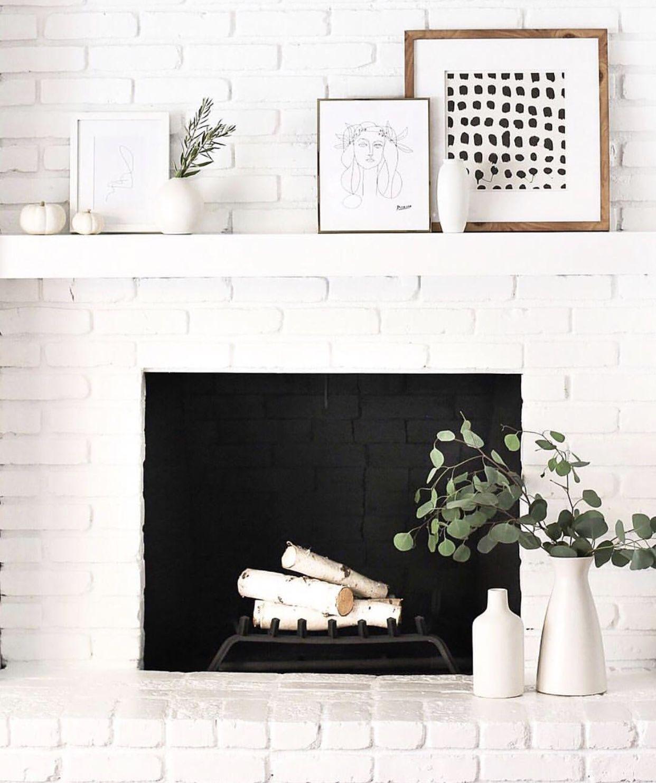 Pin By Shelfology Rad Modern Shel On M A N T E L White Brick Fireplace White Fireplace Boho Living Room