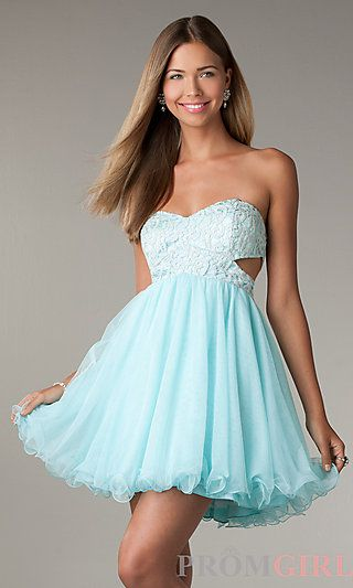 25e8315d1b Short Strapless Prom Dress with Cut Out Sides by LA Glo at PromGirl.com  this is my tolo dress for next year I think.