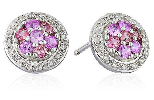 Sterling Silver, Pink Tourmaline, Pink Sapphire, and Diamond Stud Earrings