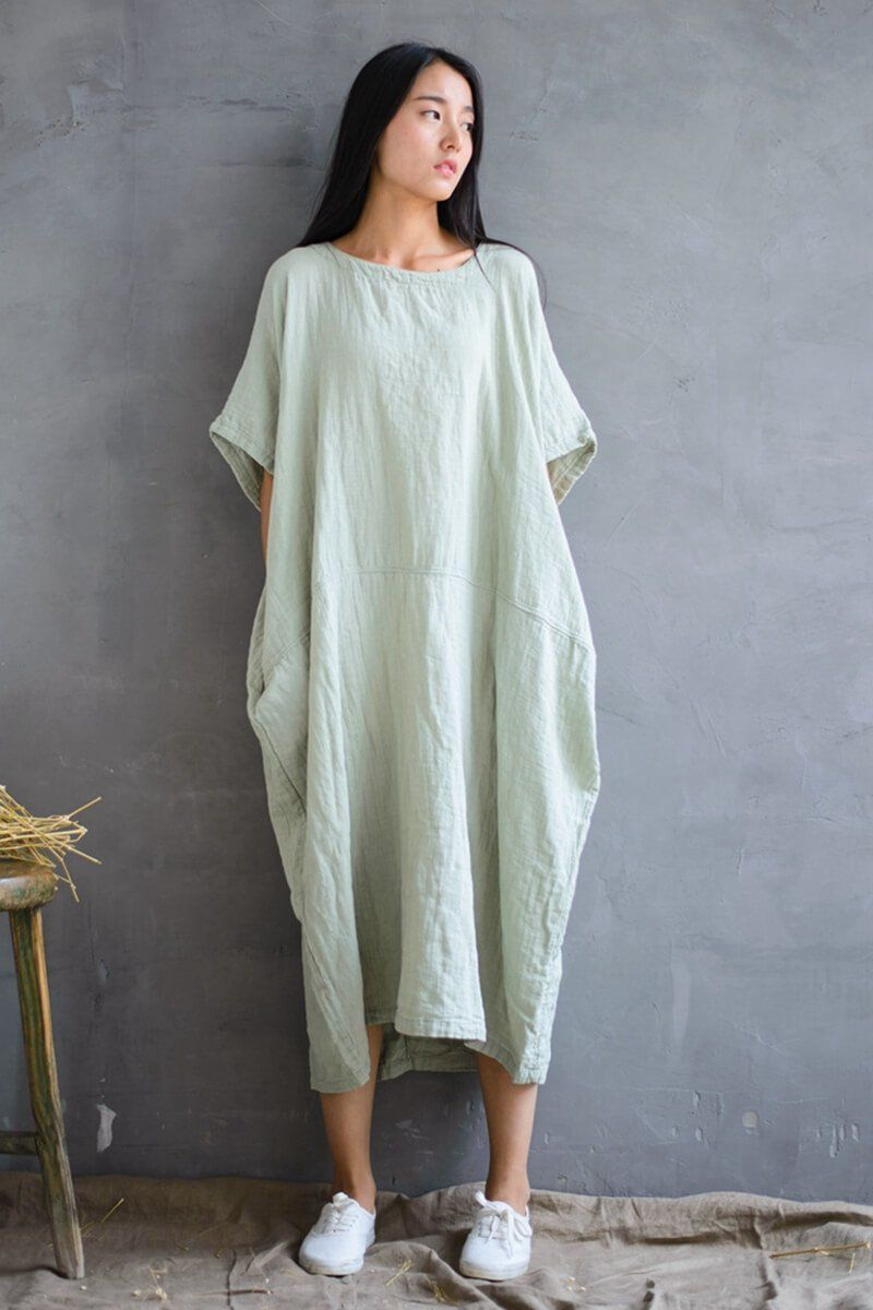 cotton loose plus size long dress women dress products