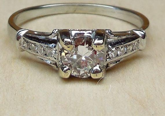 Vintage Antique .55ct Diamond 18k White Gold by DiamondAddiction, $530.00