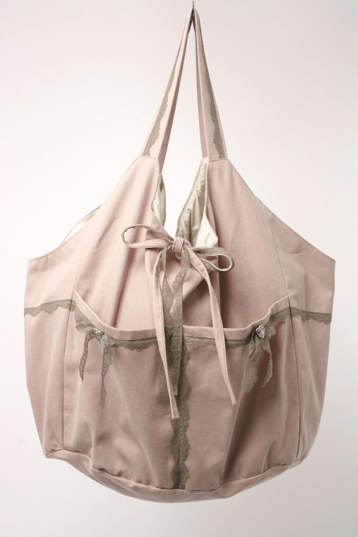 99f2adf0cc sac besace XXL en lin rose poudré romantique : Sacs bandoulière par  gwaelonna