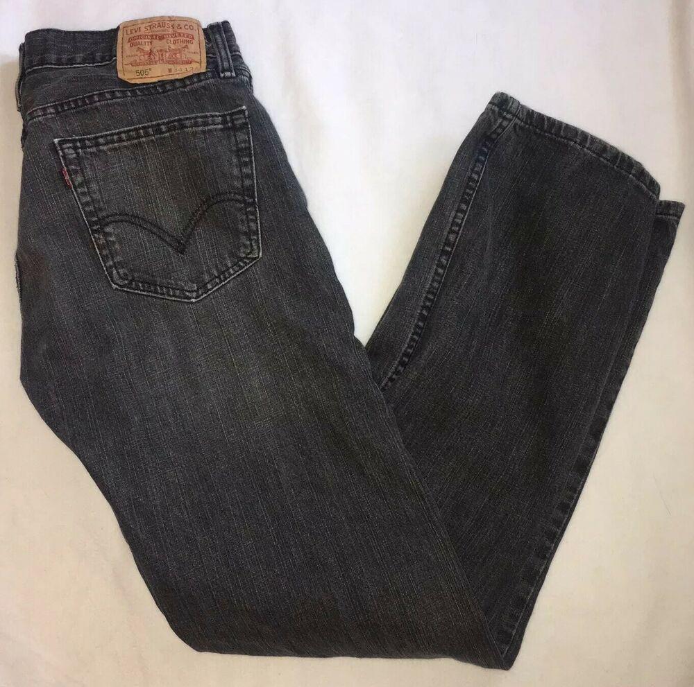 Levi/'s 505 Straight Leg Jeans Men/'s Size 31 X 32 Stretch Distressed Dark Wash