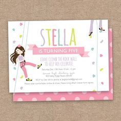 An Indoor Rock Climbing Birthday Invitation Wording Fonts And Colors Can Be Customized To Match Your This Is A 5 X 7