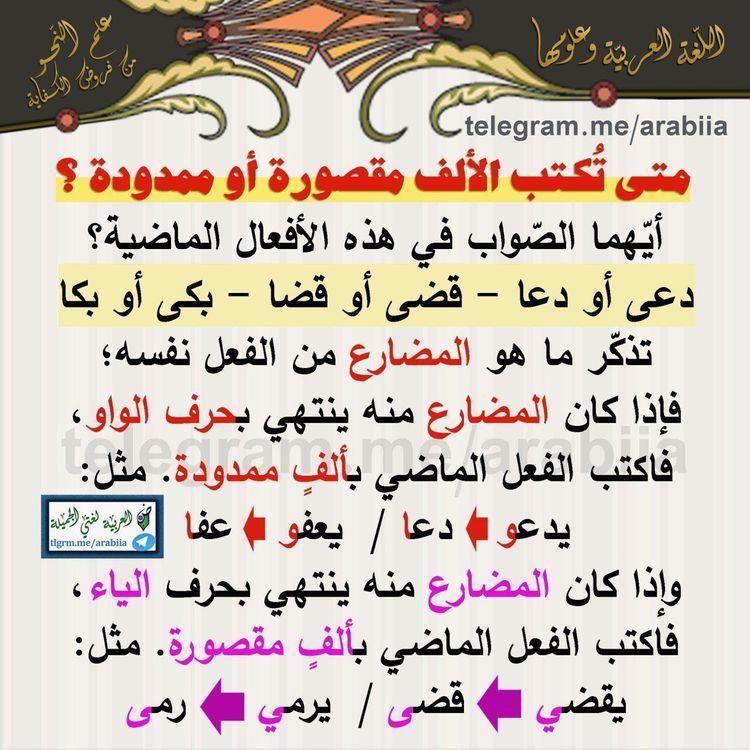 الألف المقصورة Learn Arabic Language Arabic Lessons Arabic Kids