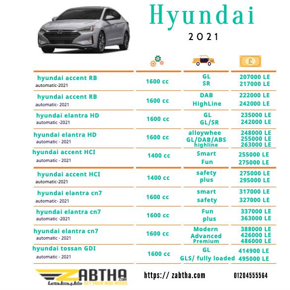 انواع سيارات هيونداي واسعارها