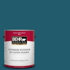 Behr Premium Plus 1 Gal T16 04 Galapagos Interior Exterior Hi Gloss Enamel Paint 830001 The Home Depot Interior Paint Exterior Paint Paint Primer