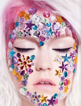 random confetti/glitter/etc on models face