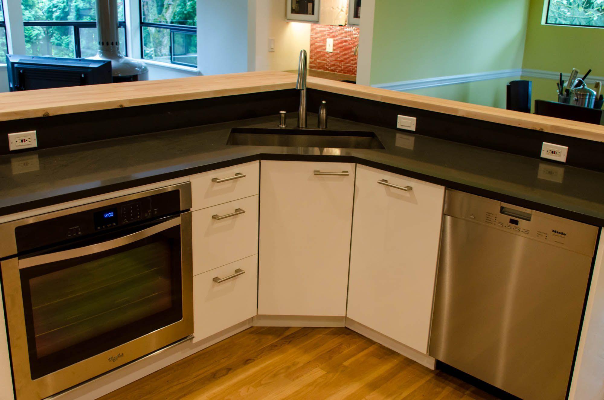 Corner Kitchen Sink Cabinet Design Ideas To Kitchen Cabinets Color Ideas Images In 2020 Corner Sink Kitchen Kitchen Sink Design Kitchen Cabinet Colors