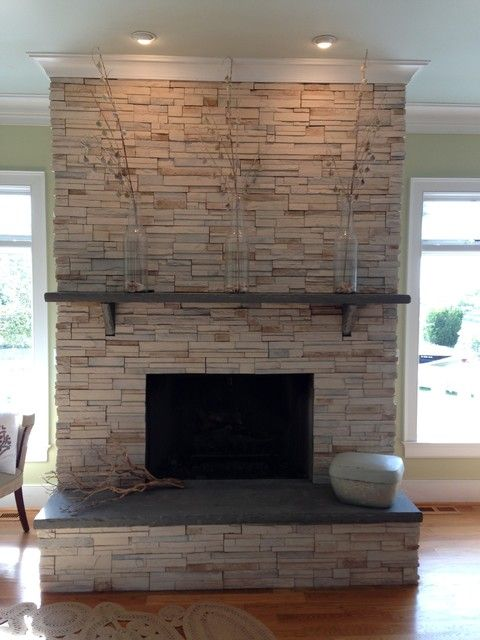 Stone Fireplace Ledgestone w Stone Slab Mantle and Hearth
