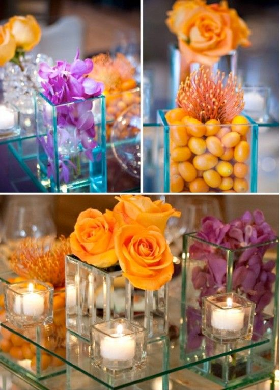Purple And Orange Wedding Theme Centerpiece Ideas