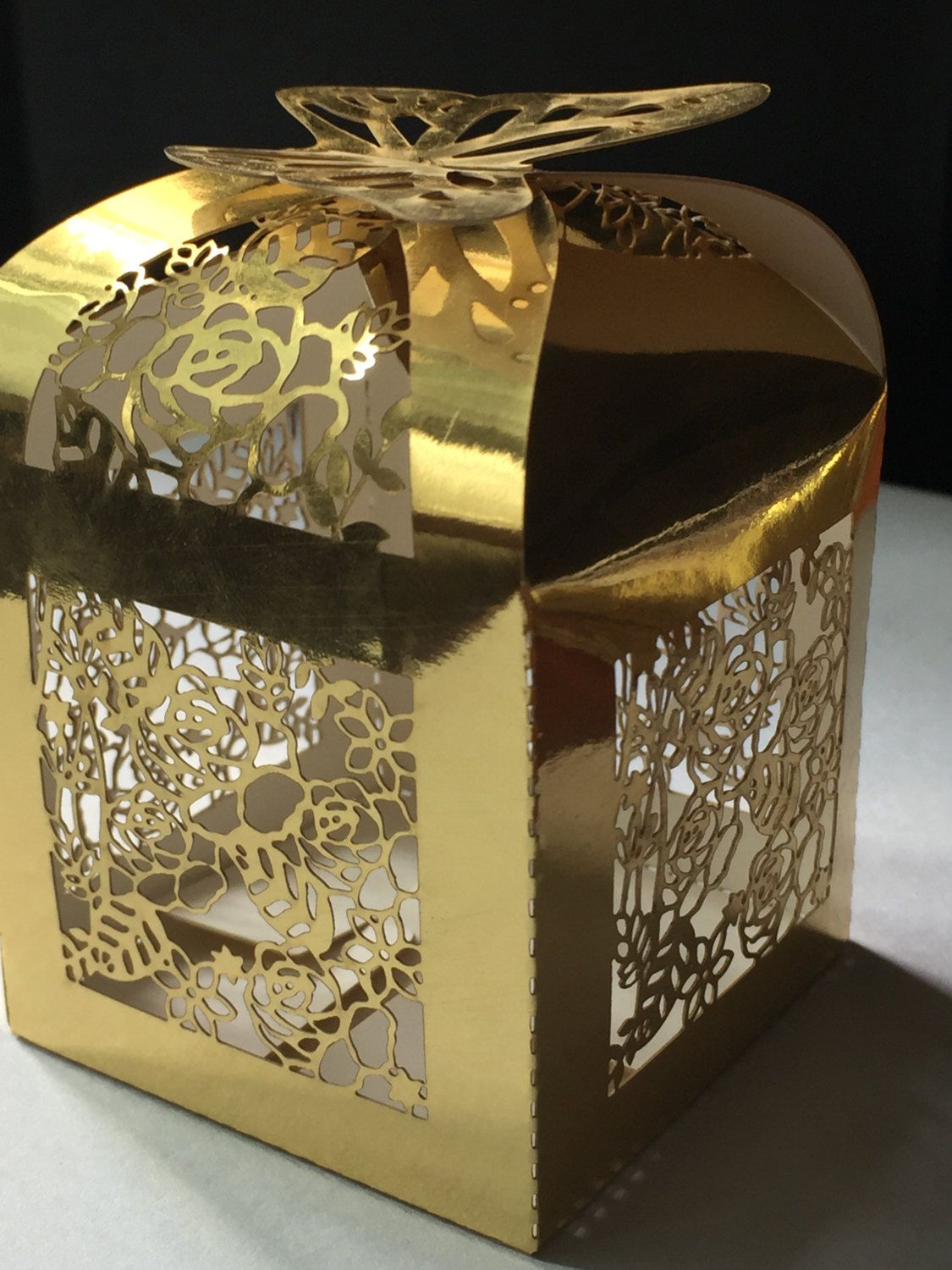 100pcs Free Shipping Butterfly Luxury Wedding Gift Boxes With Ribbon