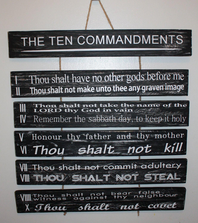 10 Commandments Scripture Distressed Reclaimed Wood Sign 80 00 Via Etsy Distressed Wood Signs How To Distress Wood 10 Commandments