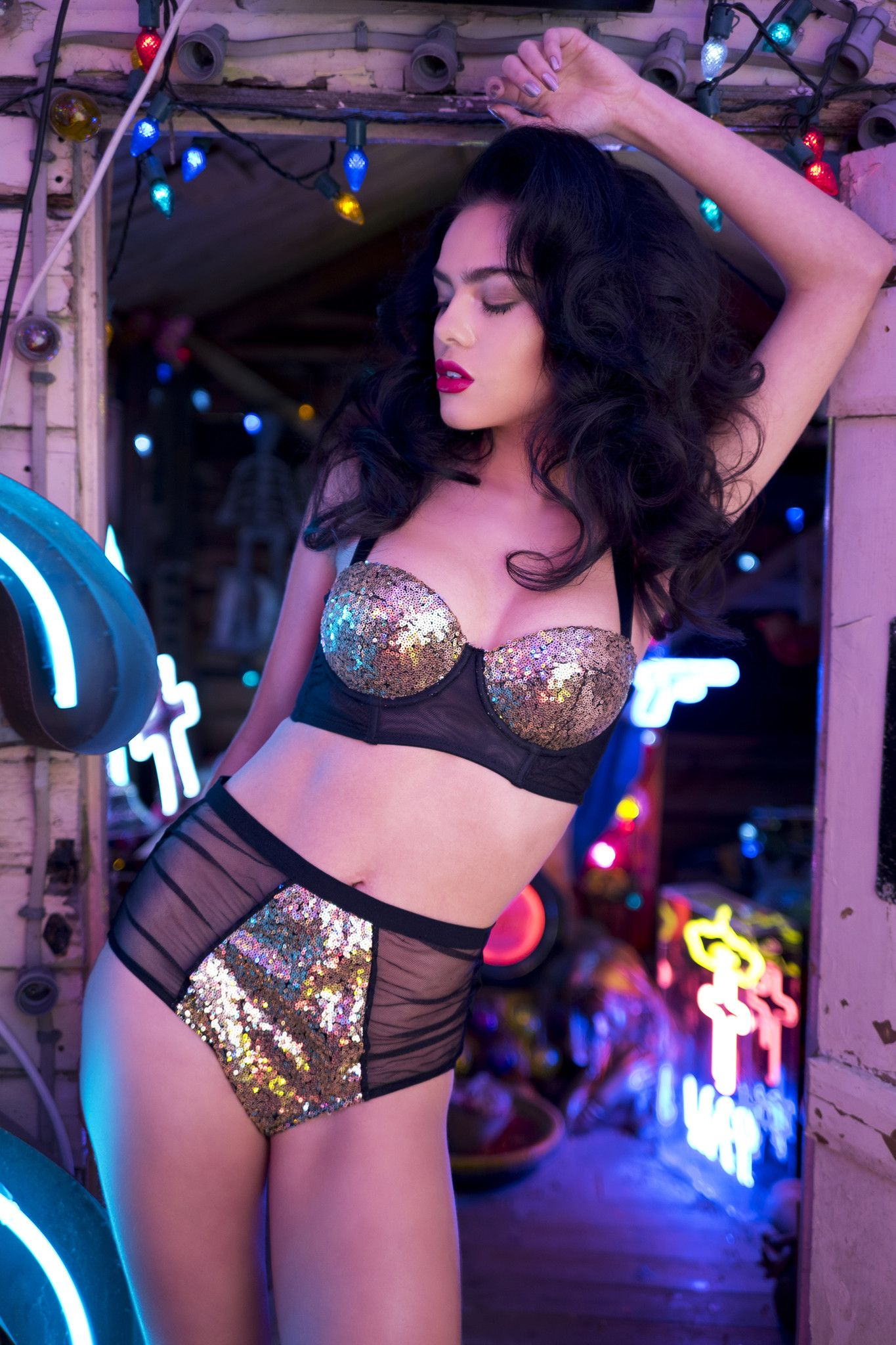 99f00f376 gold sequin black mesh high waist briefs knickers ruched