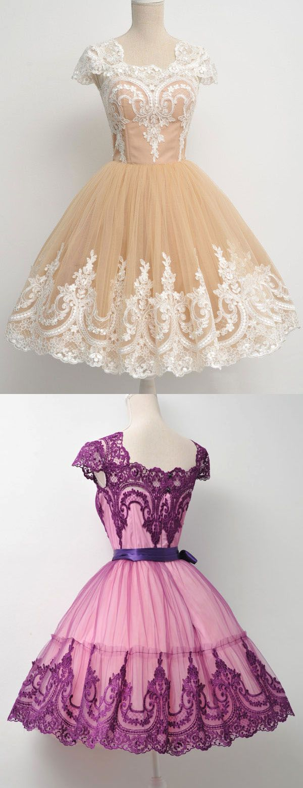 Vintage homecoming dress, ball gown lace party dress, Short Prom ...