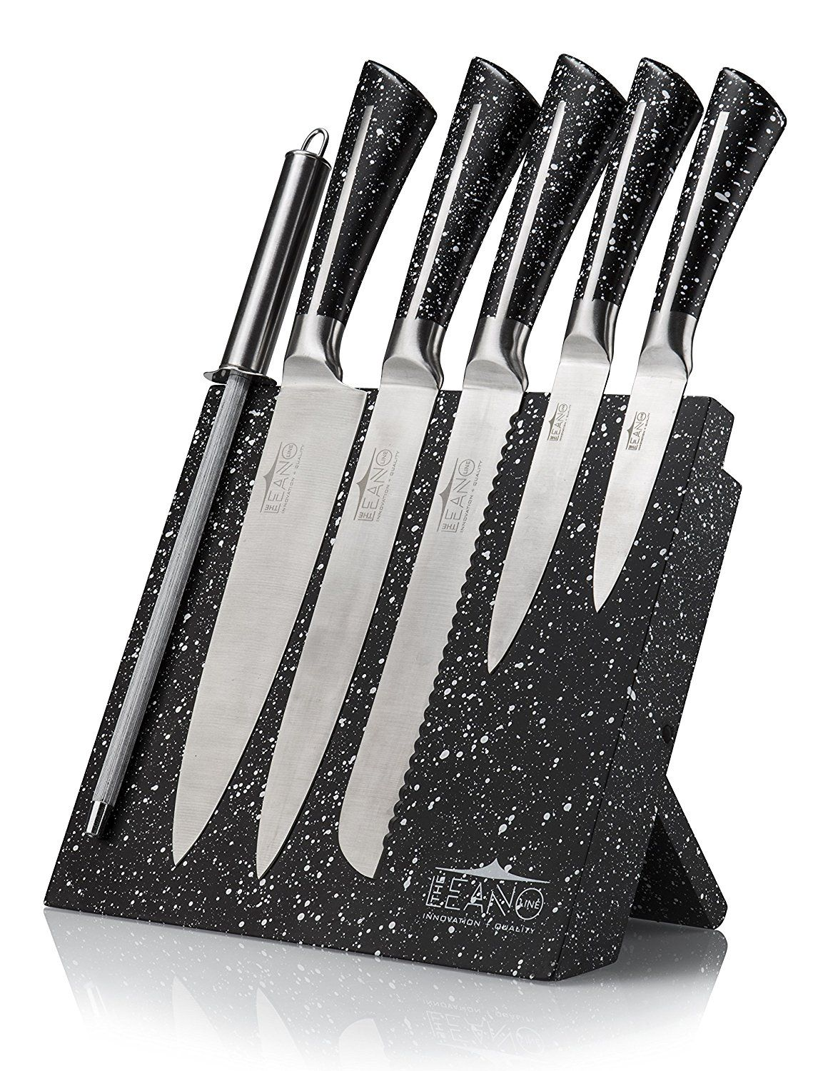 Leano Line Stainless Steel 7 Piece Kitchen Knife Set with