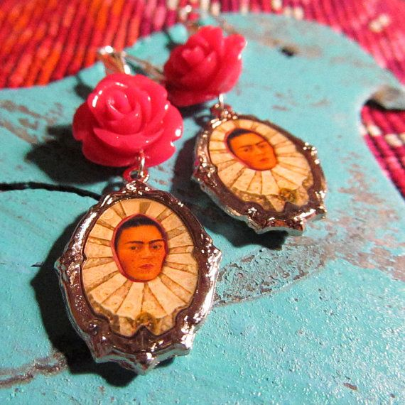 My new earrings! framed pictures of Frida's portrait with a Tehuana by ElSol, $12.00