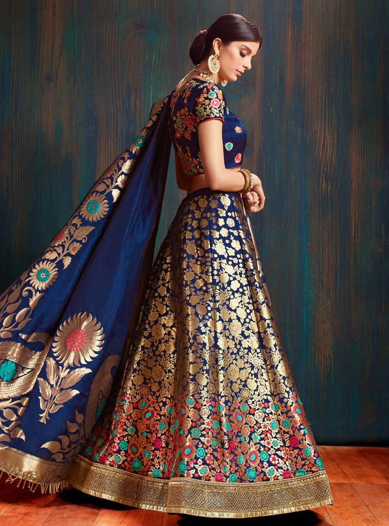 ea116f479 Navy blue pure banarasi silk Indian wedding lehenga choli 62002 in ...