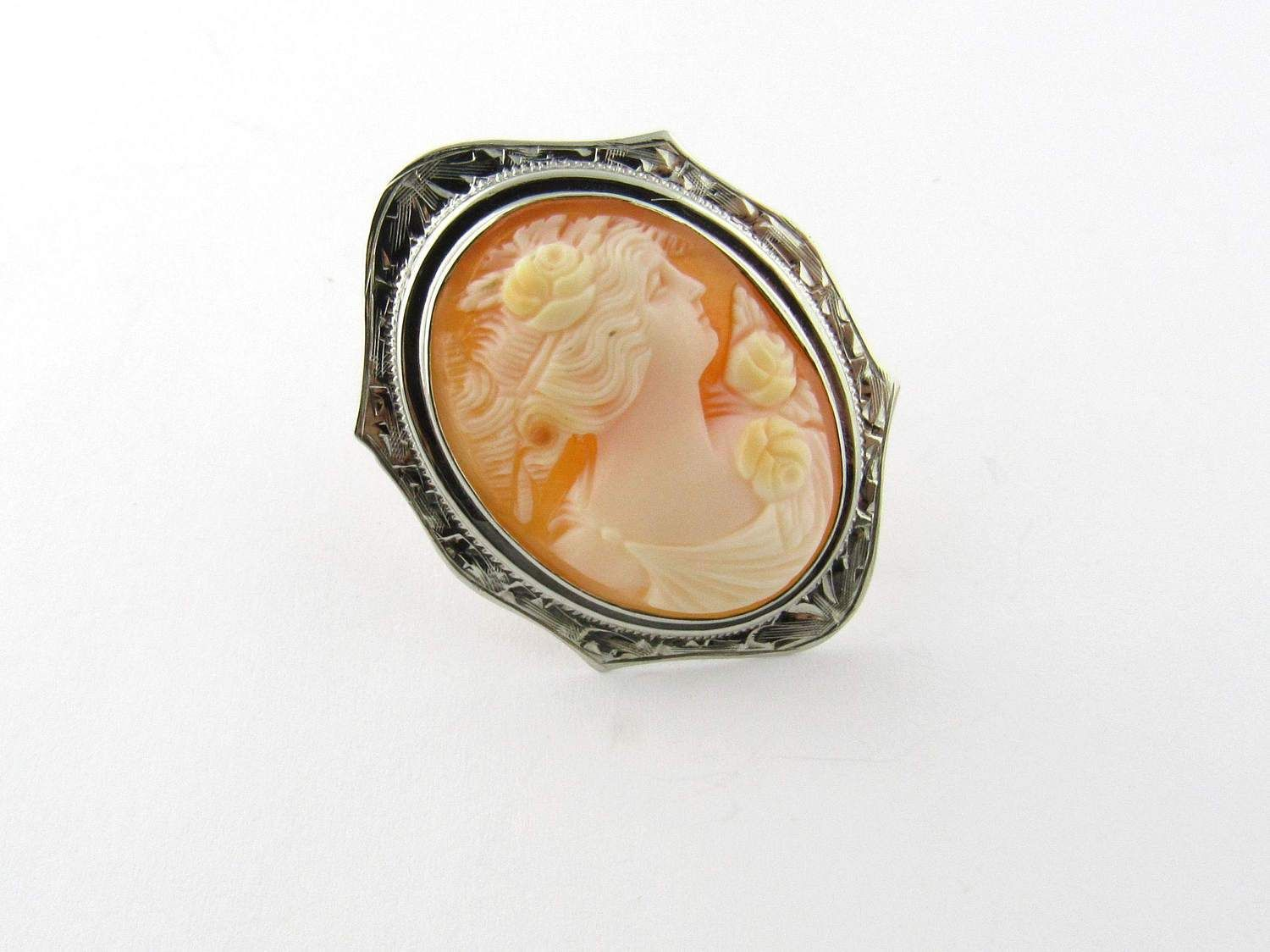 Vintage 10k White Gold Cameo Pin 1275 White Gold Vintage Jewelry Gold