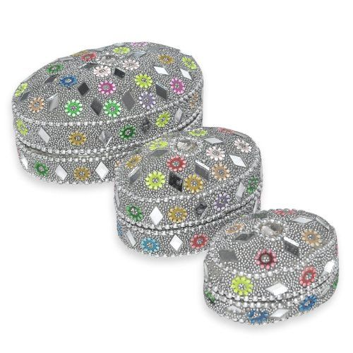 Decorative Boxes Uk Indian Gift Home Decor Silver Jewellery Boxes Handmade Lac Beaded