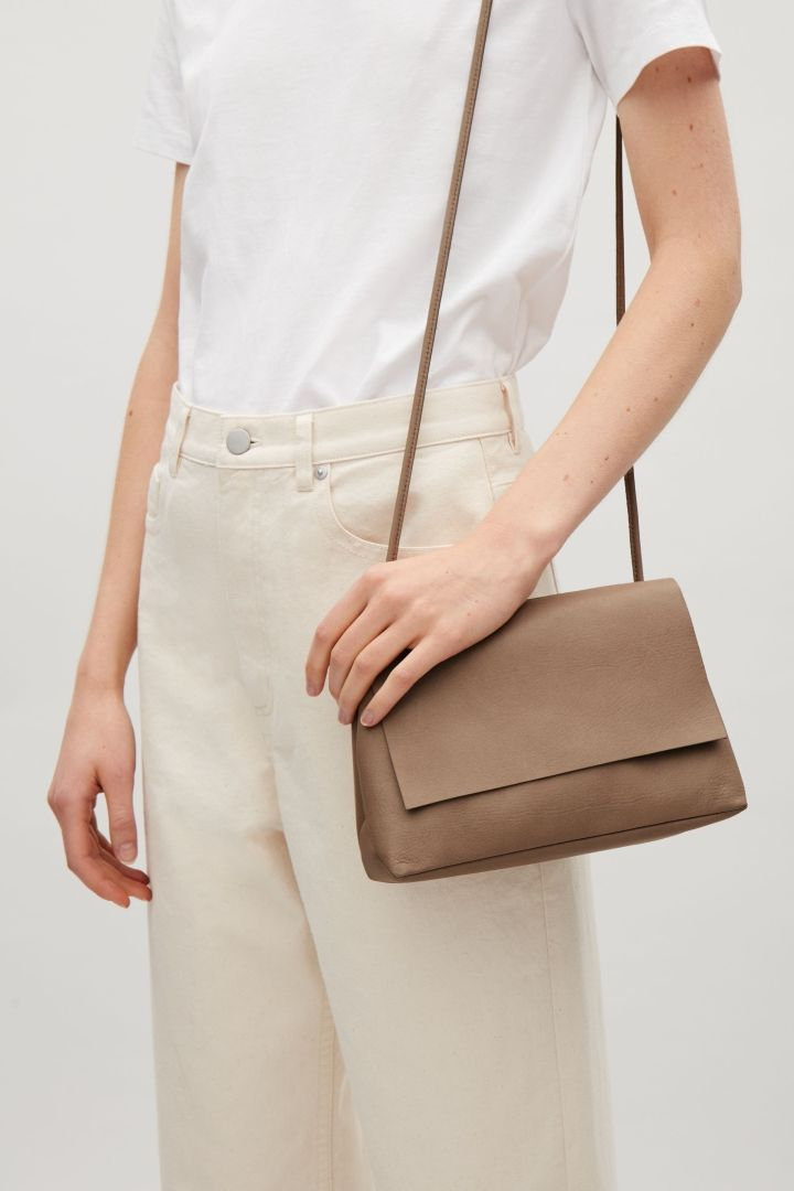 e407edff76 COS image 13 of Soft leather shoulder bag in Taupe