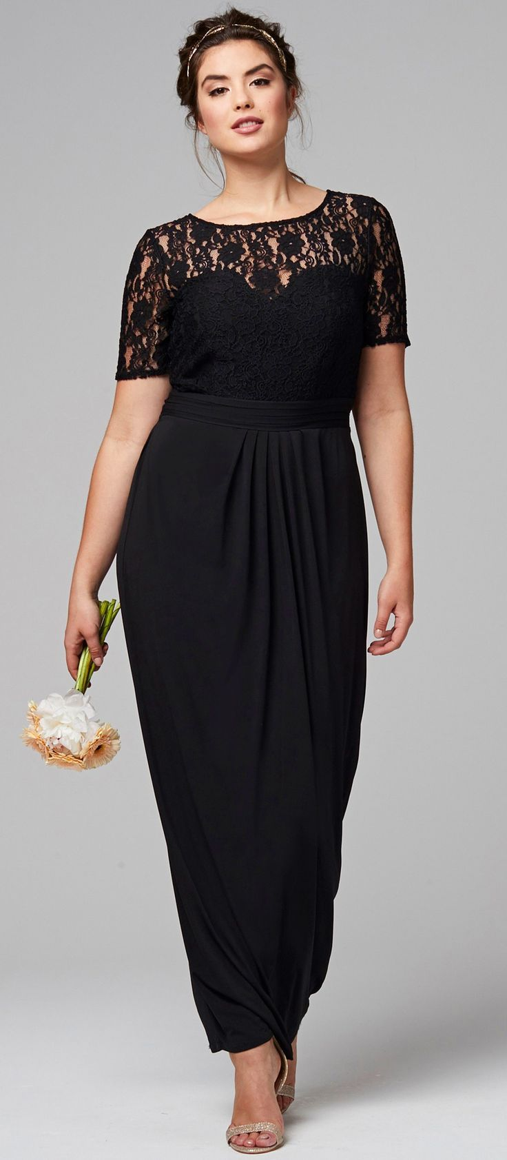 Fashion style Size plus black dress for wedding for woman