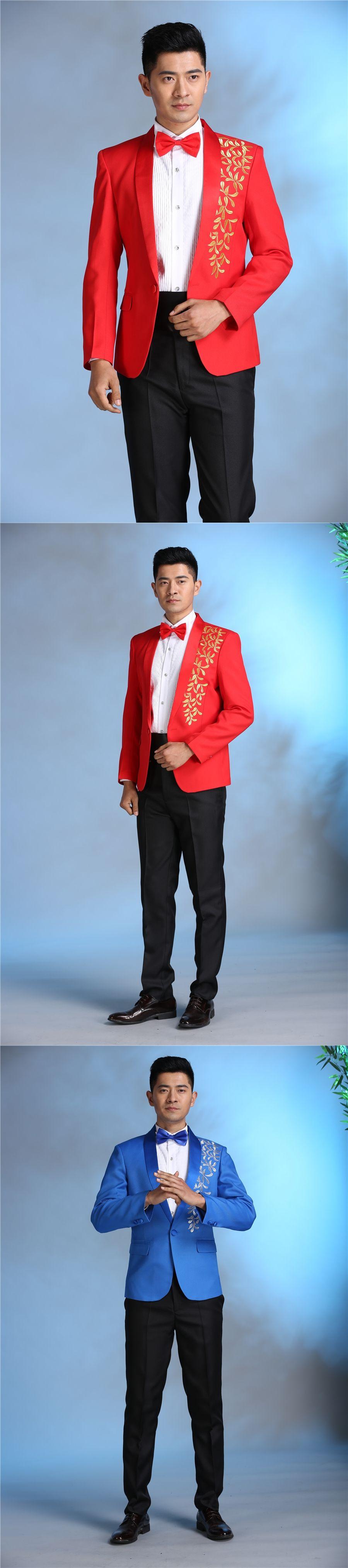 Latest Coat Pant Designs Red Blue Pattern Performaance Men Suit Slim ...