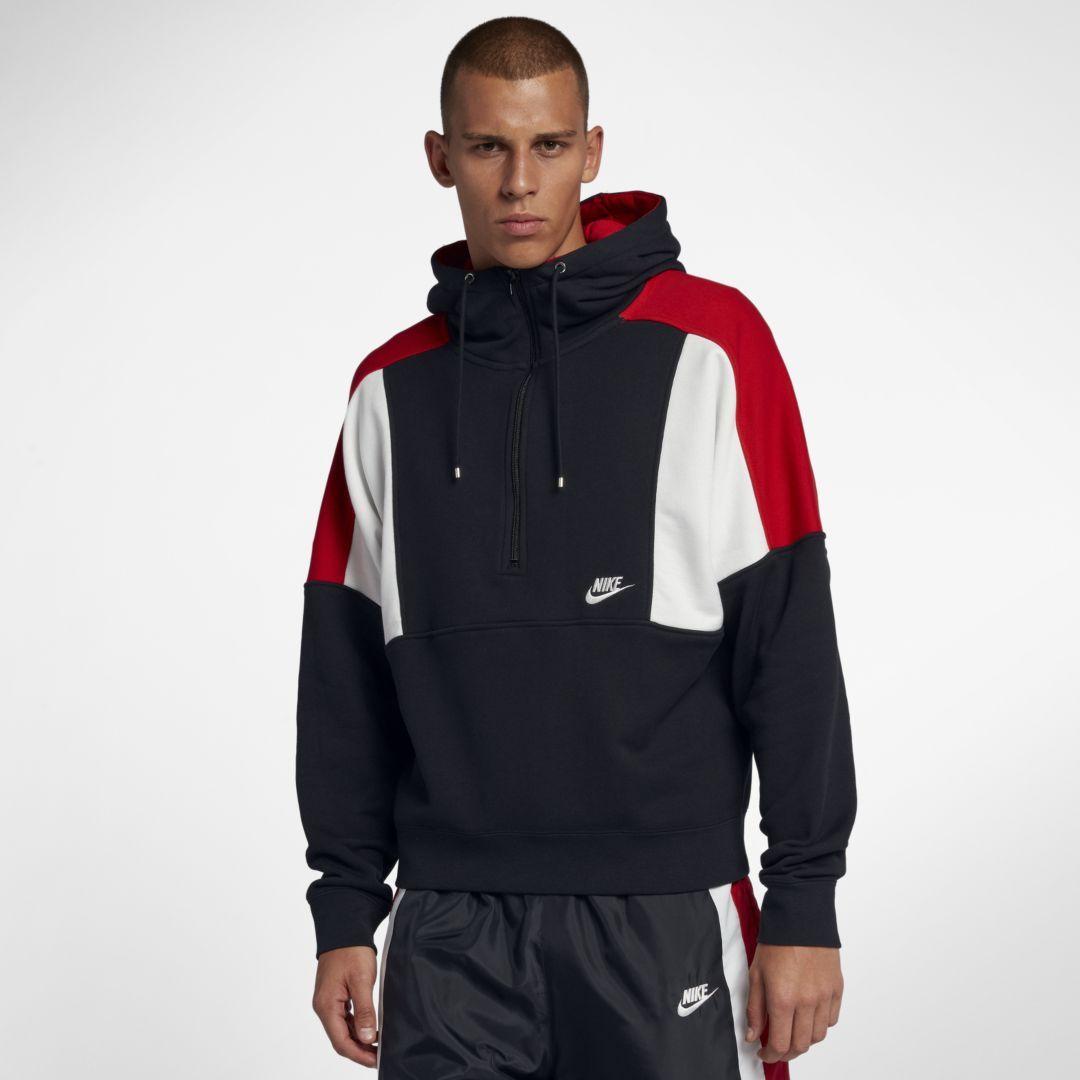 Nike Sportswear Men s Fleece Half-Zip Hoodie Size XL (Black)  804fddc73a1