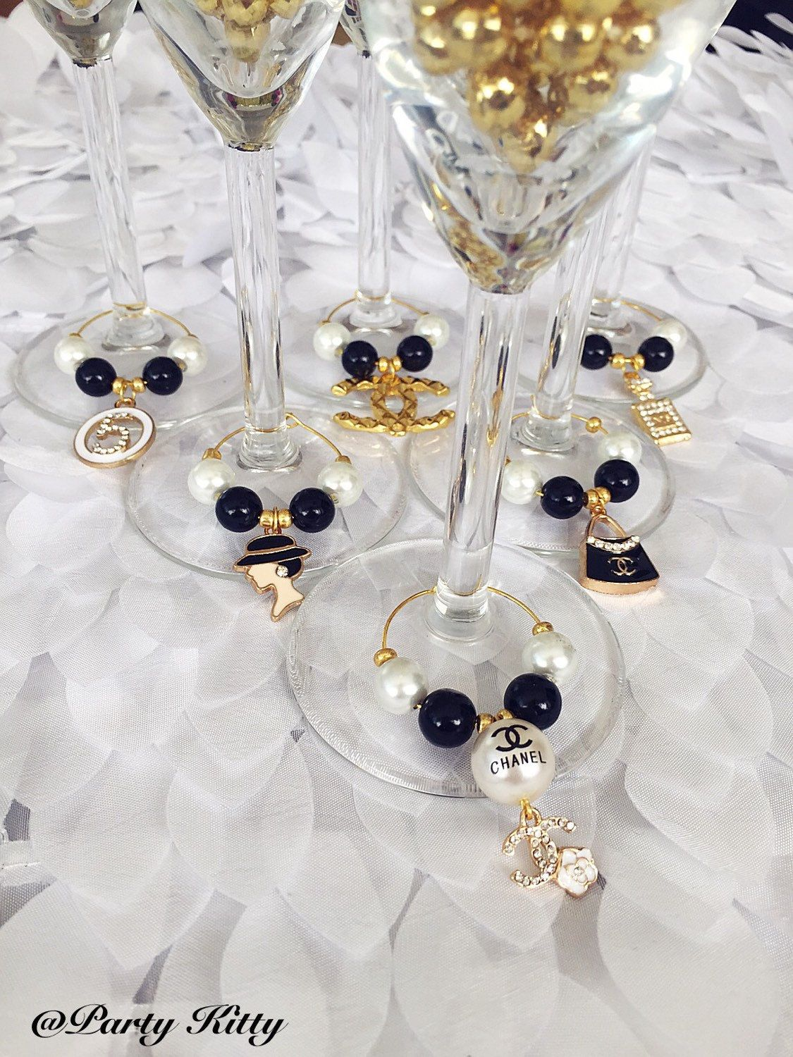 Black & Gold Chanel Themed Party Wine Glass Charms Champagne Glass ...