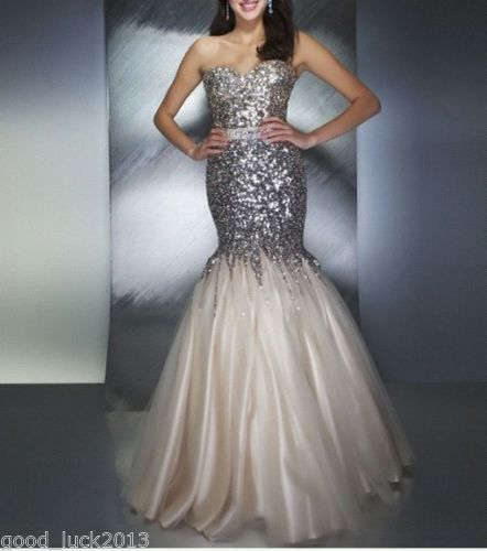 New Paillette Lace Mermaid Prom Dress Formal Evening Dresses Long Party Ball | eBay