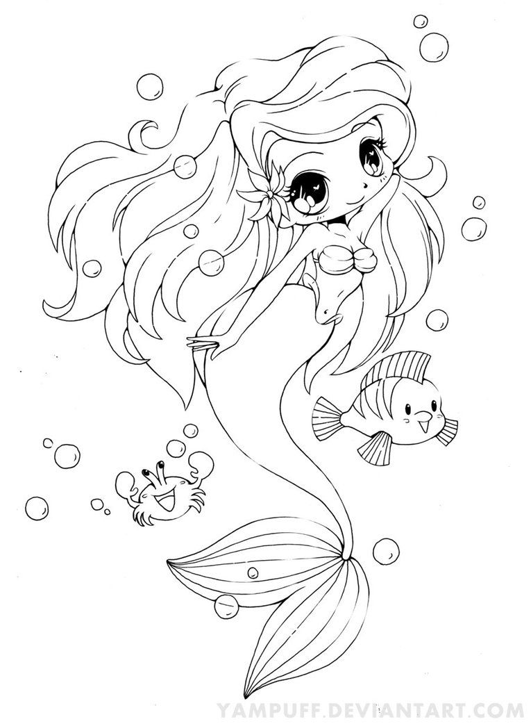 Linearts For Coloring By Yampuff On Deviantart Chibi Coloring Pages Mermaid Coloring Pages Animal Coloring Pages