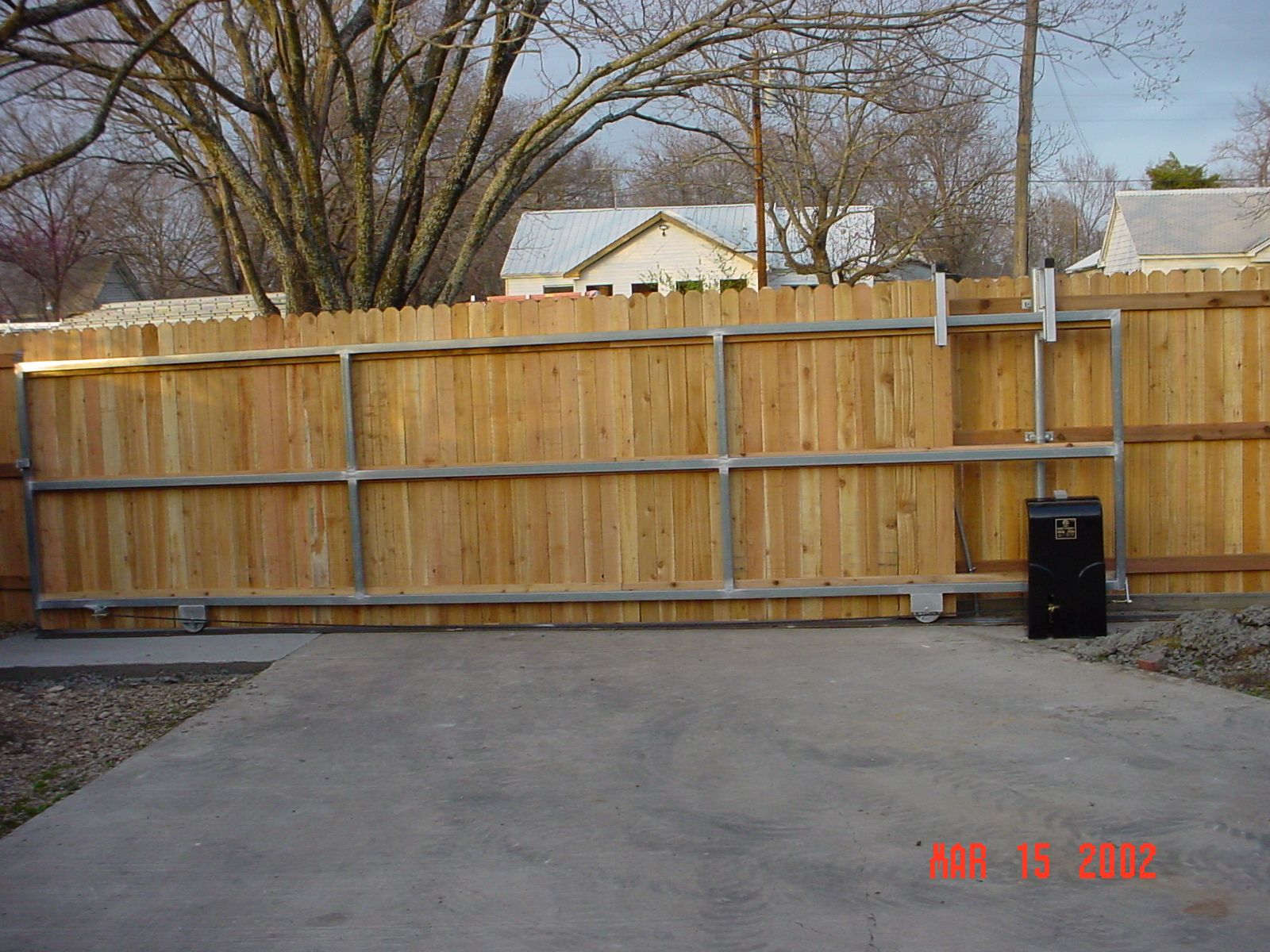 Galvanized steel frame drive gate fence dallas wood gate - Steel Frame For Wood Slide Gate Opener