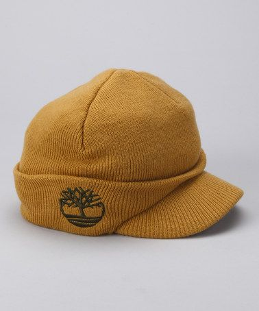 Honey Mustard Knit Brimmed Beanie by Timberland Boys  921084567433