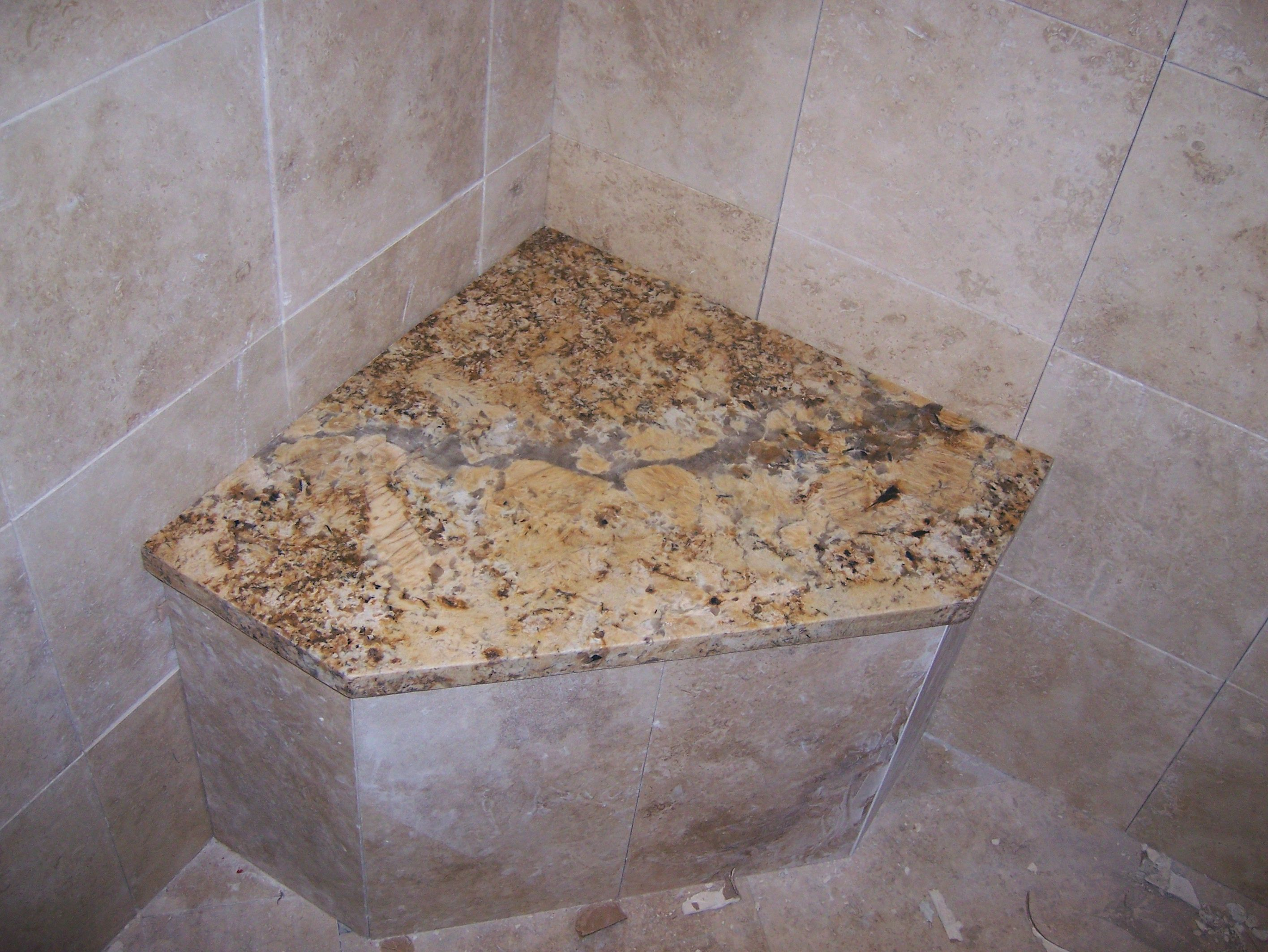 built in shower seats benches | corner shower seat [ solaius granite ...