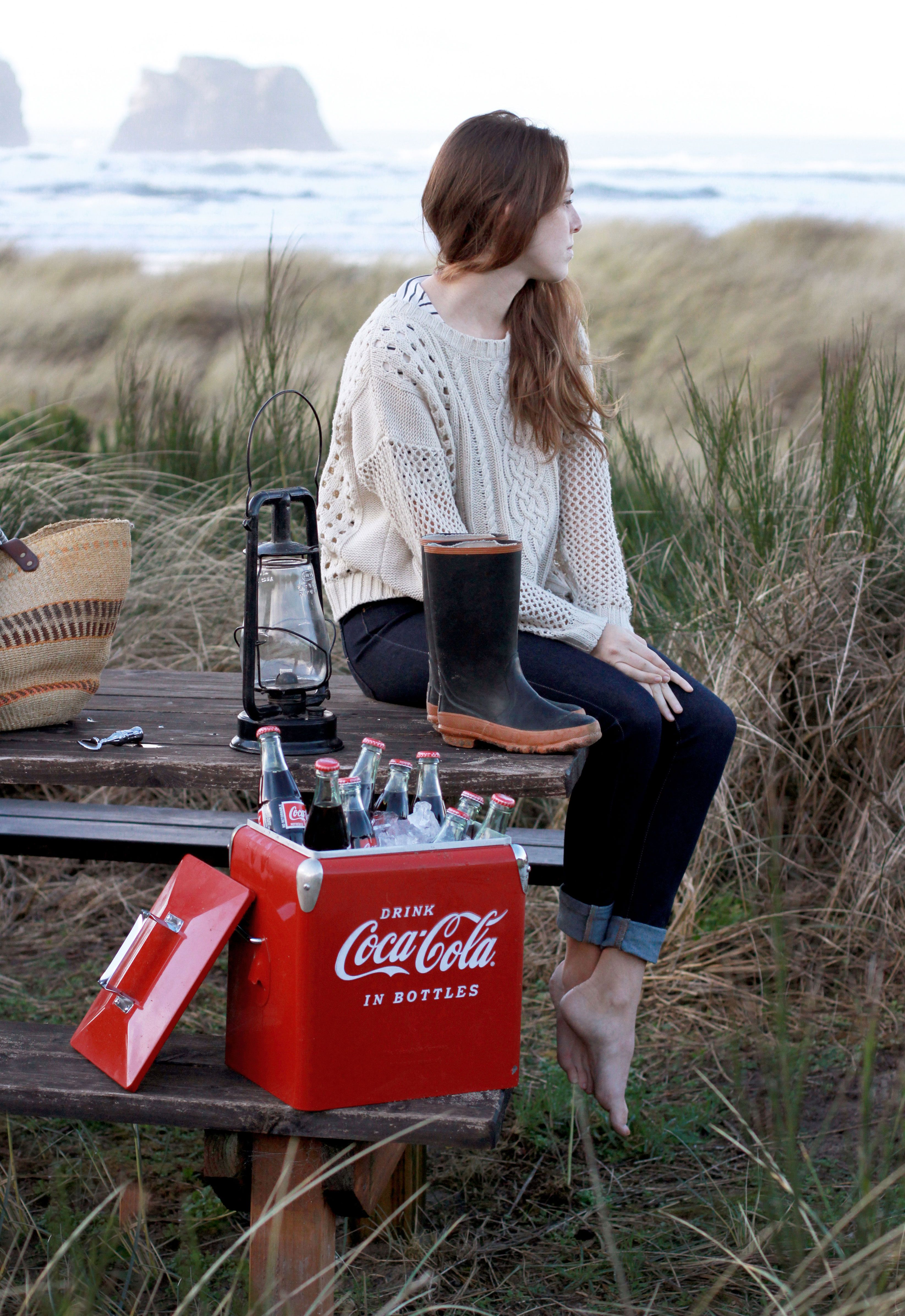Laid back beach style; a cozy sweater, jeans and rubber boots. #cokestyle Thanks to our friends at Coca-Cola!