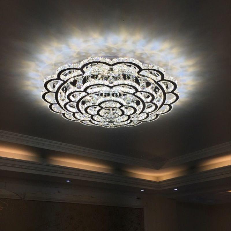 Re Crystal Led Ceiling Light For Living Room Lighting Fixture Remote Control Modern Lamp Home Bedroom 110v 220v