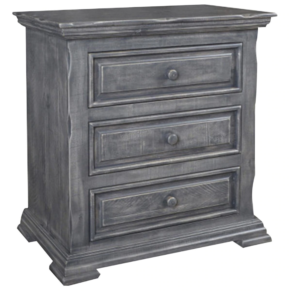 Sunset Bay Marquis 3 Drawer Nightstand In Distressed Gray