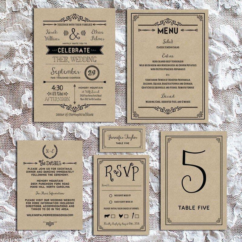 Printable DIY Wedding Invitation Template | Rustic diy weddings, Diy ...