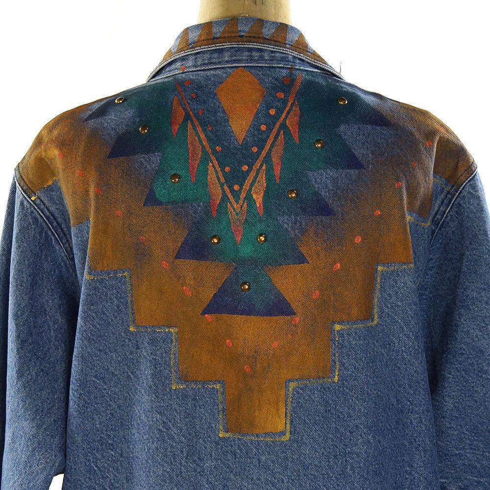 80s Southwestern Denim Trench Coat Vintage 1980s Painted Etsy Denim Trench Coat Trench Coat Denim [ 1000 x 1000 Pixel ]