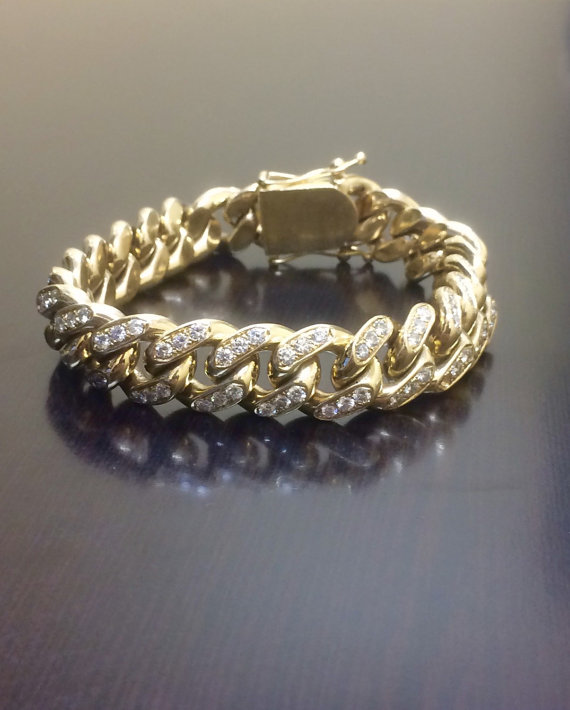 14k Yellow Gold Cuban Link Diamond Bracelet By Dekaradesigns