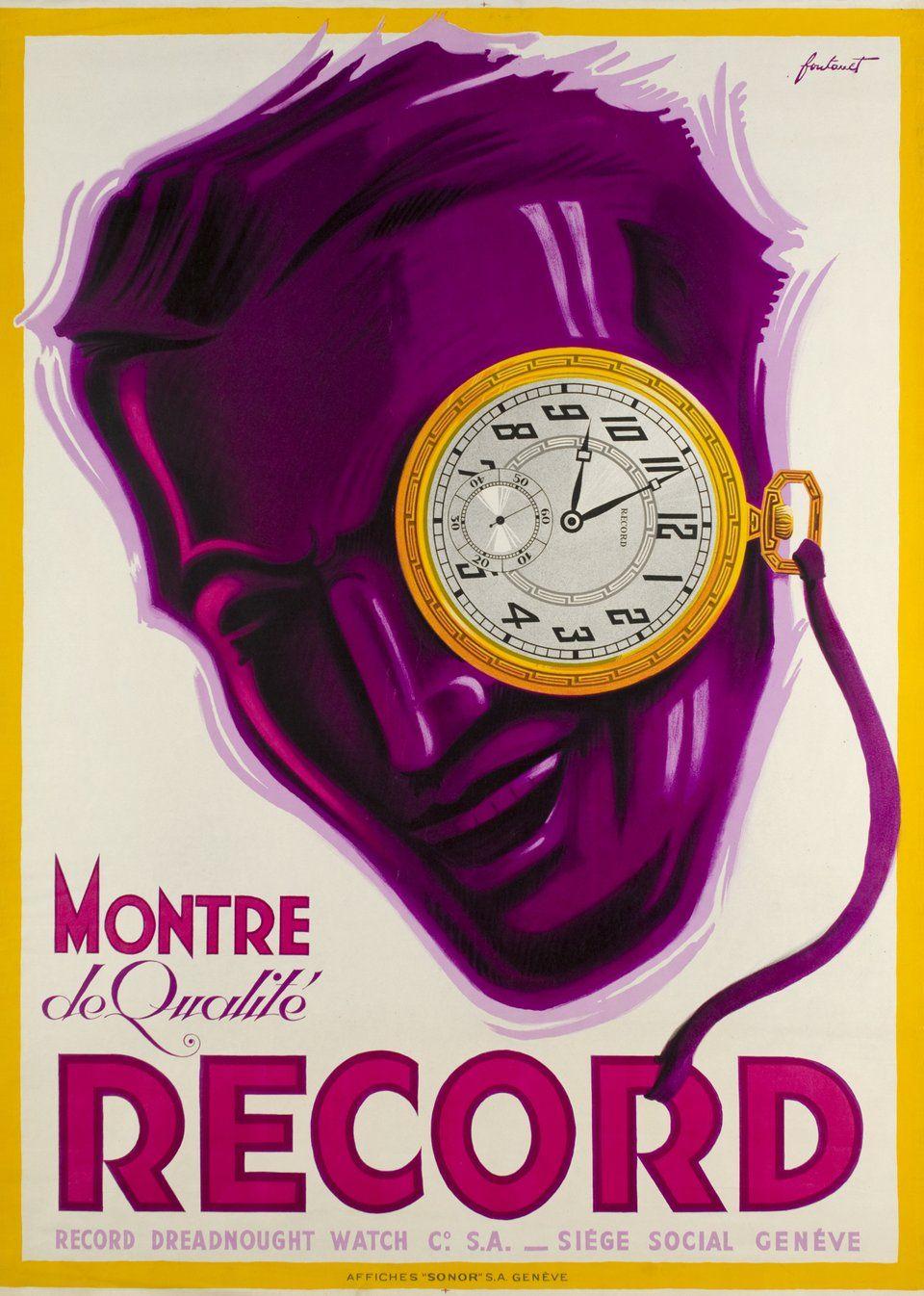 Montre De Qualite Record Noel Fontanet 1933 Vintage Posters Vintage Poster Art Vintage